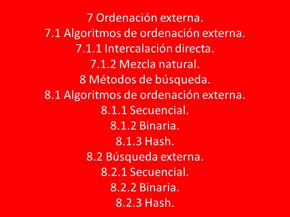 7 Ordenación externa. 7. 1 Algoritmos de ordenación externa. 7. 1