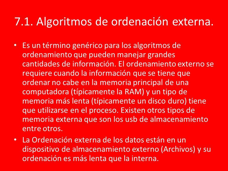 7.1. Algoritmos de ordenación externa.