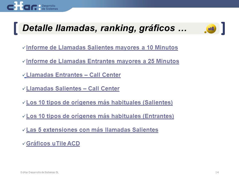 Detalle llamadas, ranking, gráficos …