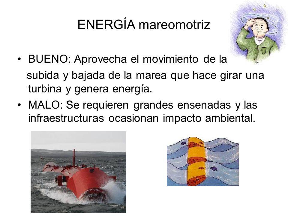 ENERGÍA mareomotriz BUENO: Aprovecha el movimiento de la