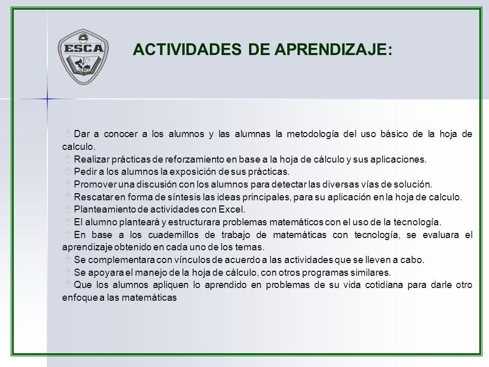 ACTIVIDADES DE APRENDIZAJE:
