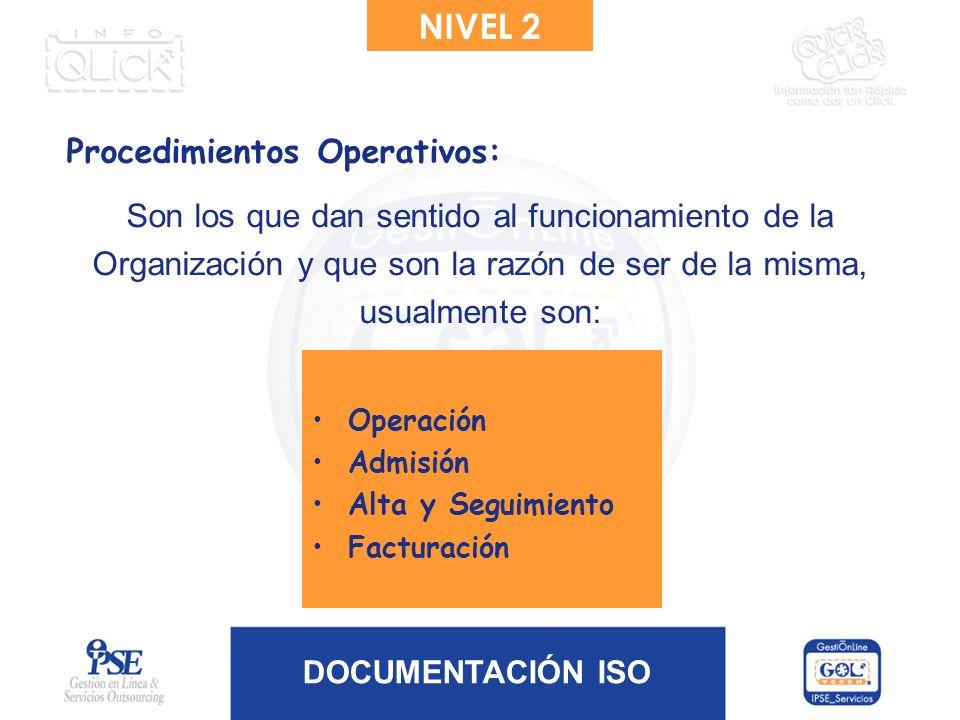 NIVEL 2 Procedimientos Operativos: