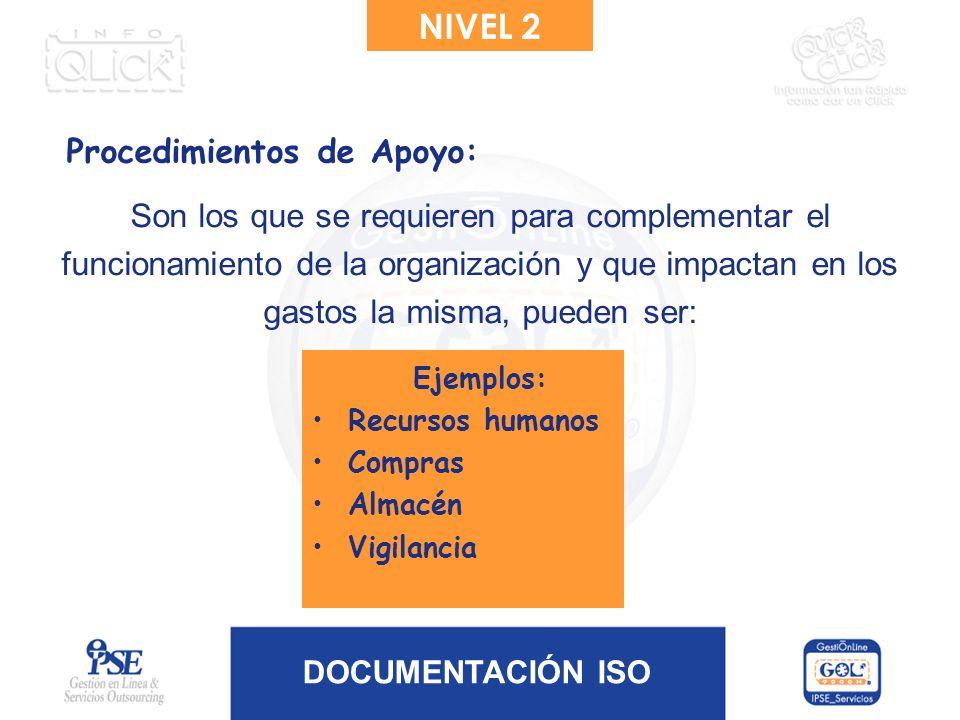 NIVEL 2 Procedimientos de Apoyo: