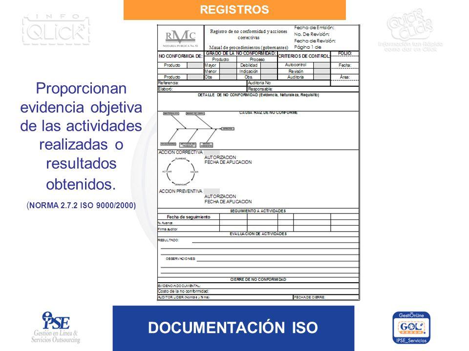 REGISTROS Proporcionan evidencia objetiva de las actividades realizadas o resultados obtenidos.