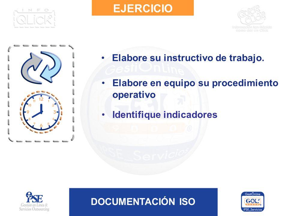 EJERCICIO Elabore su instructivo de trabajo.