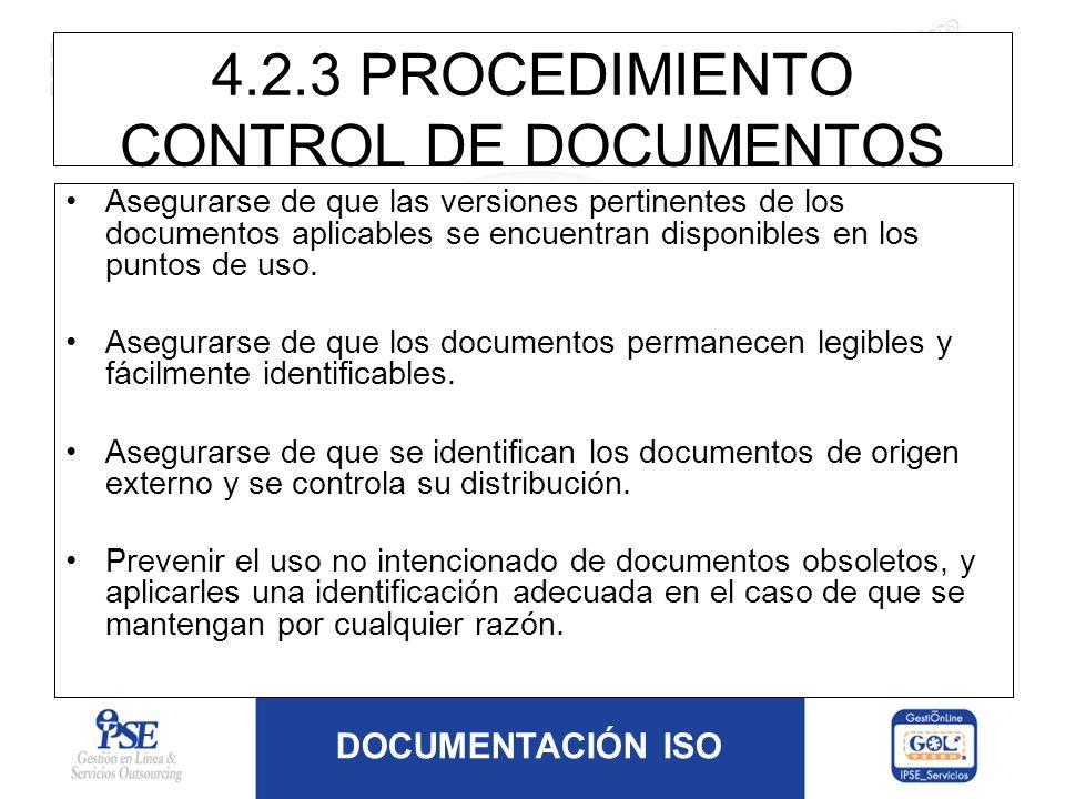 4.2.3 PROCEDIMIENTO CONTROL DE DOCUMENTOS