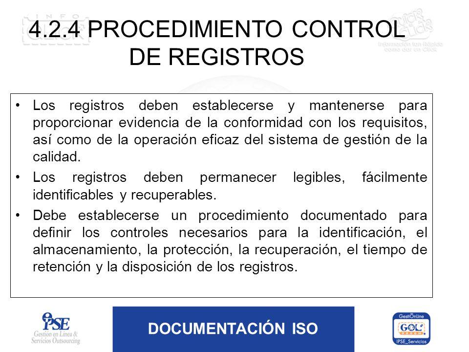 4.2.4 PROCEDIMIENTO CONTROL DE REGISTROS