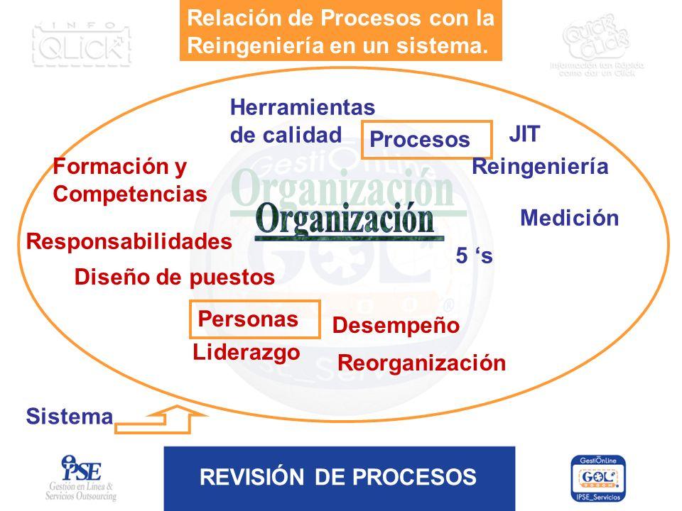 Organización Relación de Procesos con la Reingeniería en un sistema.