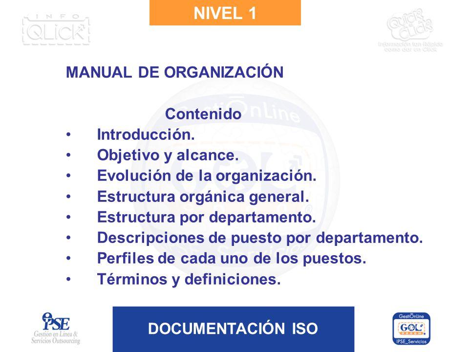 NIVEL 1 MANUAL DE ORGANIZACIÓN Contenido Introducción.