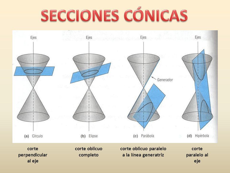 SECCIONES CÓNICAS corte perpendicular al eje corte oblicuo completo