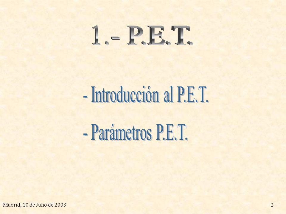 1.- P.E.T. - Introducción al P.E.T. - Parámetros P.E.T.