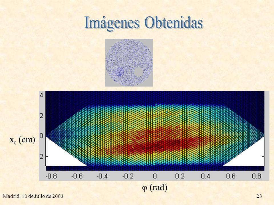 Imágenes Obtenidas xr (cm) φ (rad) Madrid, 10 de Julio de 2003