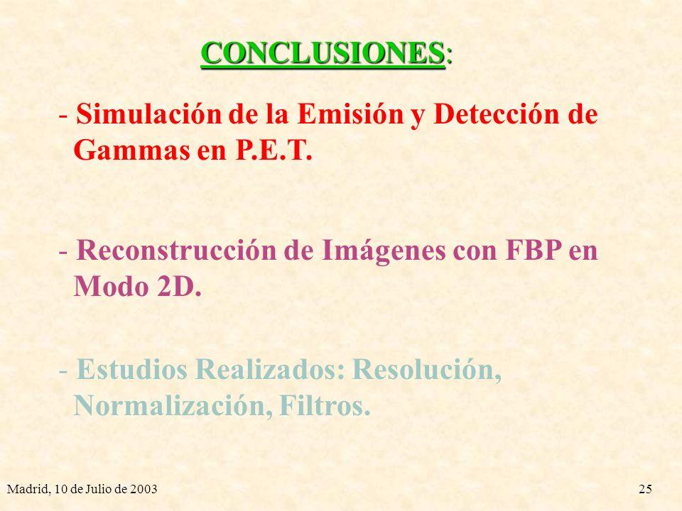 Simulación de la Emisión y Detección de Gammas en P.E.T.