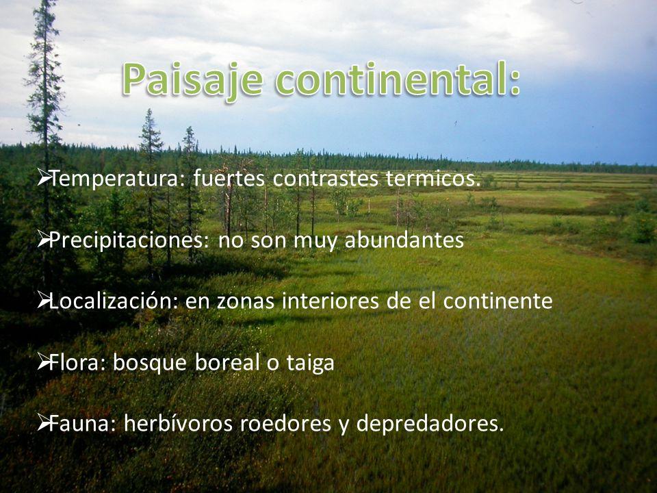 Paisaje continental: Temperatura: fuertes contrastes termicos.