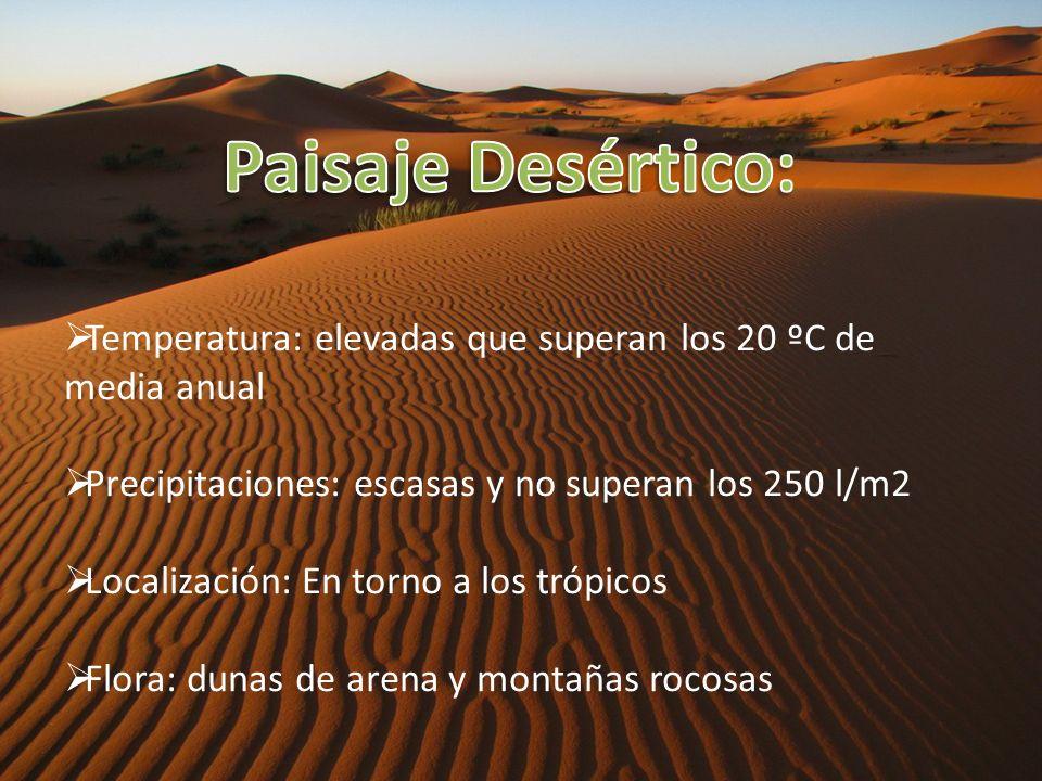 Paisaje Desértico: Temperatura: elevadas que superan los 20 ºC de media anual. Precipitaciones: escasas y no superan los 250 l/m2.
