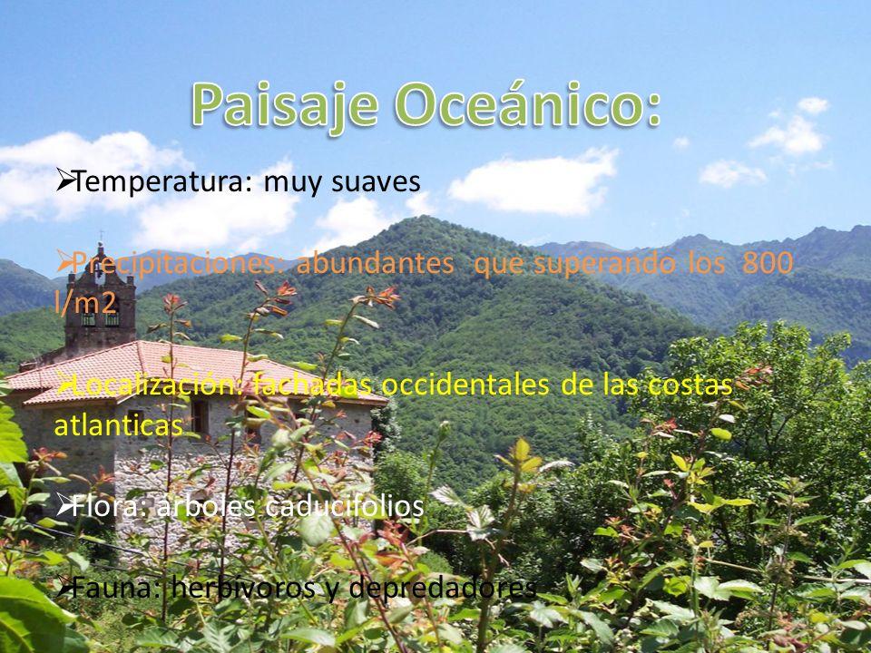 Paisaje Oceánico: Temperatura: muy suaves