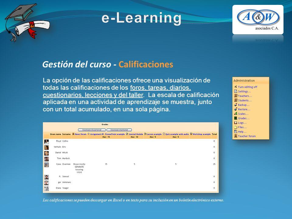 Gestión del curso - Calificaciones