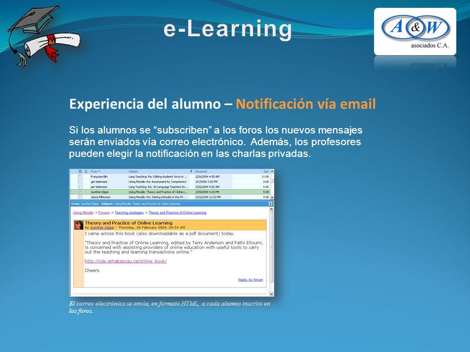 Experiencia del alumno – Notificación vía email