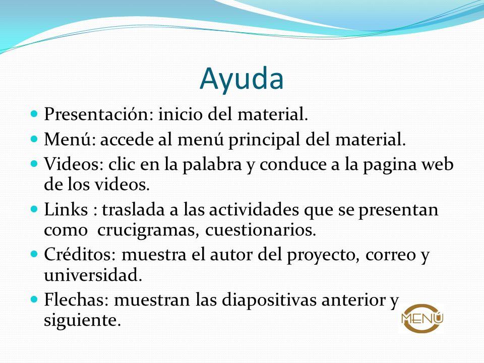Ayuda Presentación: inicio del material.