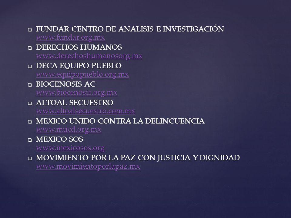 FUNDAR CENTRO DE ANALISIS E INVESTIGACIÓN www.fundar.org.mx