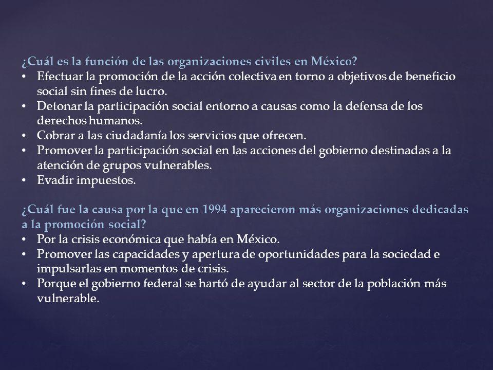 ¿Cuál es la función de las organizaciones civiles en México