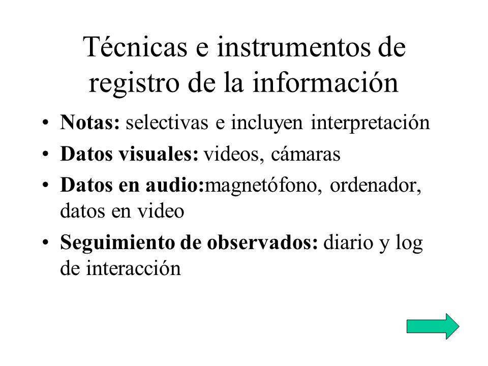 Técnicas e instrumentos de registro de la información