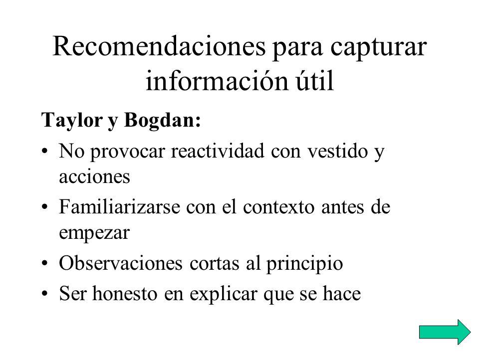 Recomendaciones para capturar información útil