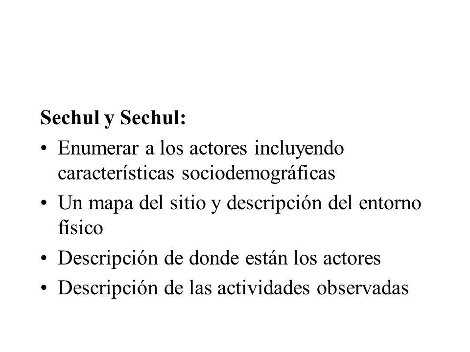 Sechul y Sechul: Enumerar a los actores incluyendo características sociodemográficas. Un mapa del sitio y descripción del entorno físico.