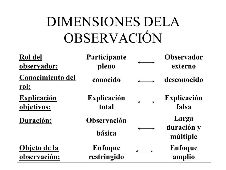 DIMENSIONES DELA OBSERVACIÓN