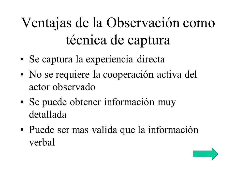 Ventajas de la Observación como técnica de captura