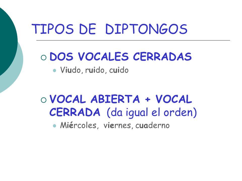 TIPOS DE DIPTONGOS DOS VOCALES CERRADAS