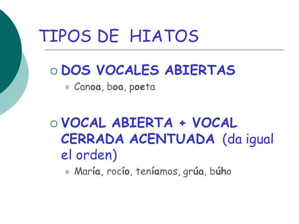 TIPOS DE HIATOS DOS VOCALES ABIERTAS