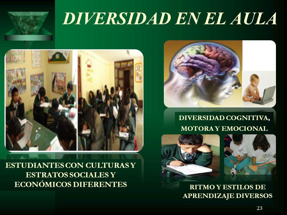 DIVERSIDAD EN EL AULA DIVERSIDAD COGNITIVA, MOTORA Y EMOCIONAL. ESTUDIANTES CON CULTURAS Y ESTRATOS SOCIALES Y ECONÓMICOS DIFERENTES.