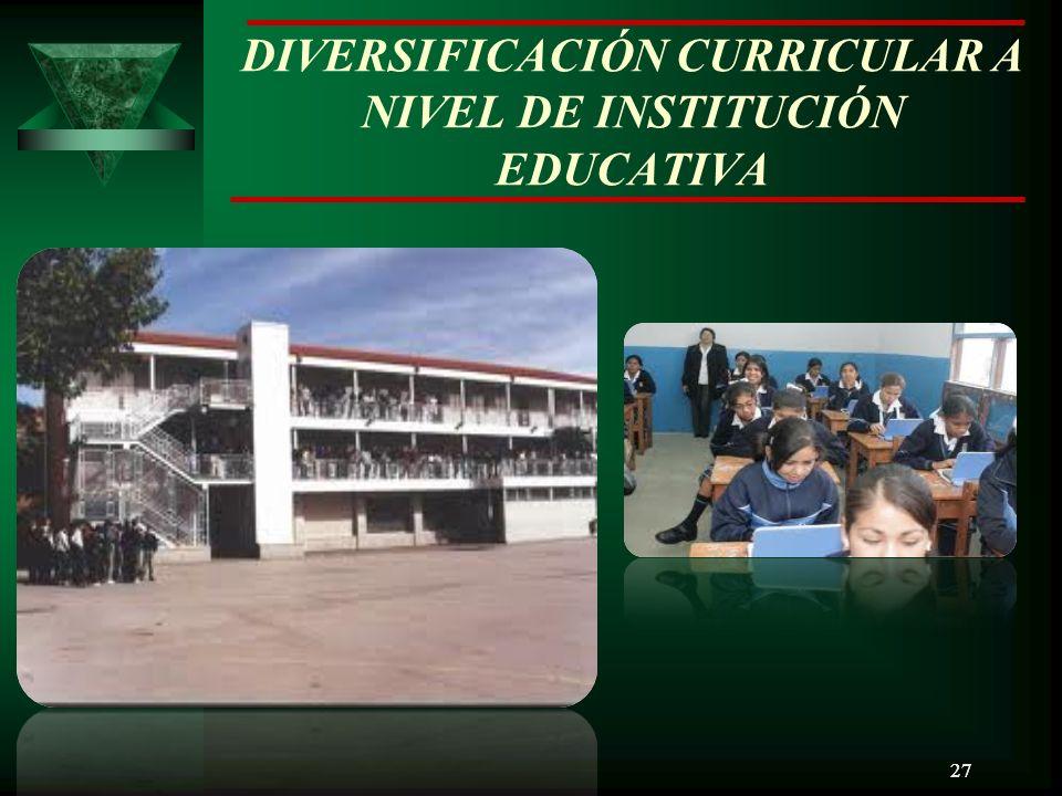 DIVERSIFICACIÓN CURRICULAR A NIVEL DE INSTITUCIÓN EDUCATIVA