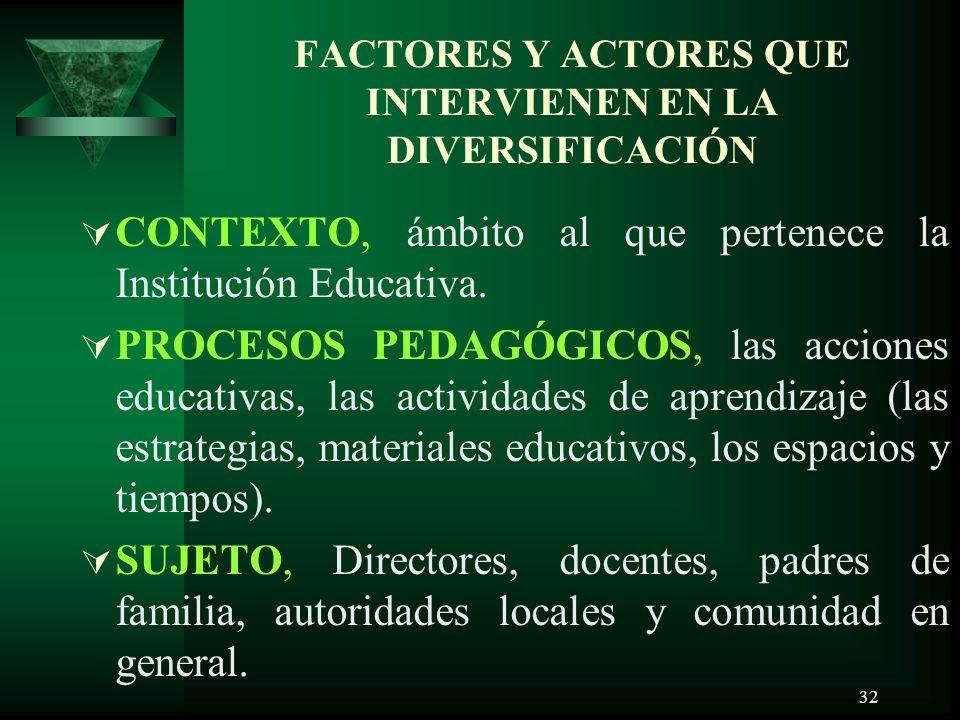 FACTORES Y ACTORES QUE INTERVIENEN EN LA DIVERSIFICACIÓN