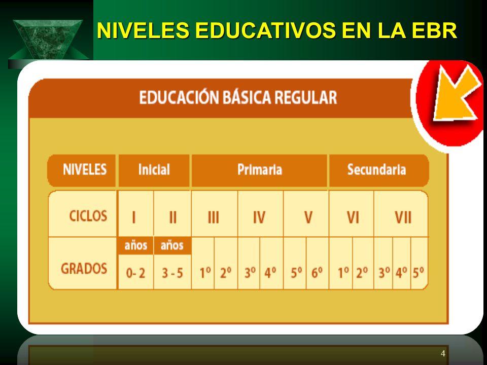 NIVELES EDUCATIVOS EN LA EBR
