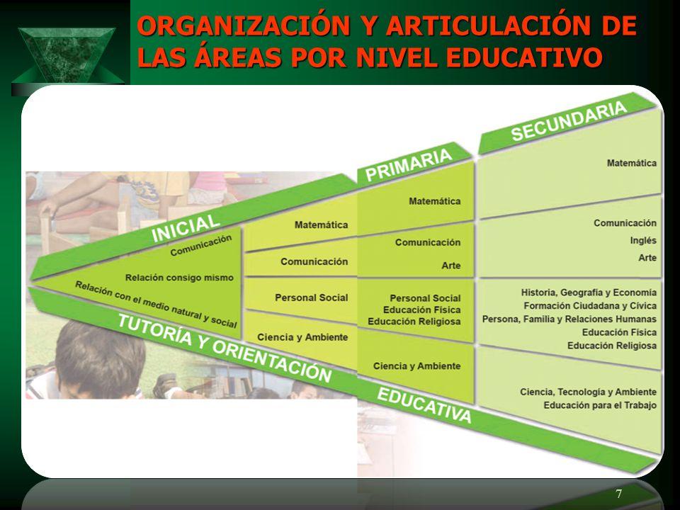 ORGANIZACIÓN Y ARTICULACIÓN DE LAS ÁREAS POR NIVEL EDUCATIVO