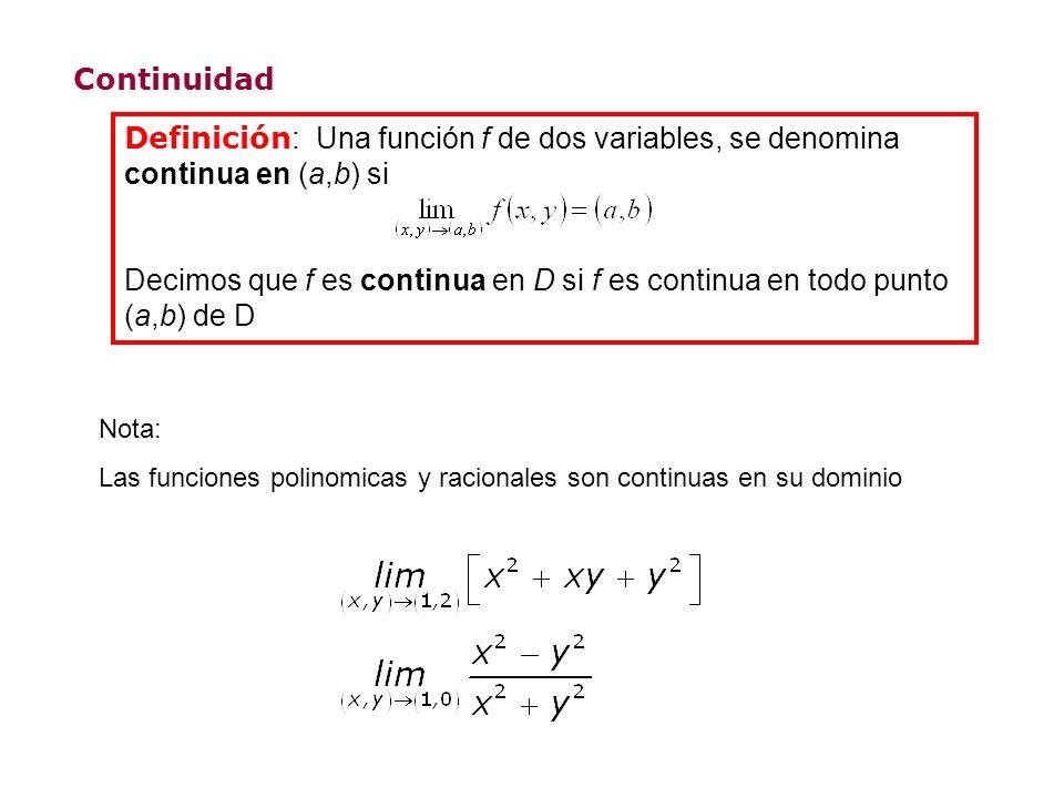 Continuidad Definición: Una función f de dos variables, se denomina continua en (a,b) si.