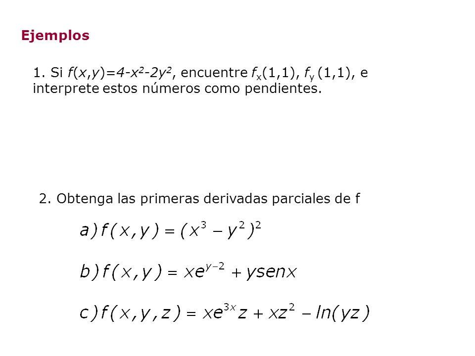 Ejemplos 1. Si f(x,y)=4-x2-2y2, encuentre fx(1,1), fy (1,1), e interprete estos números como pendientes.