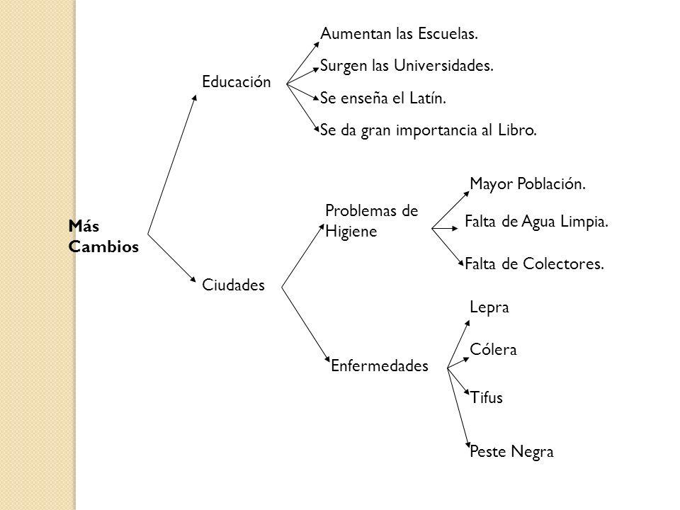 Aumentan las Escuelas. Surgen las Universidades. Educación. Se enseña el Latín. Se da gran importancia al Libro.