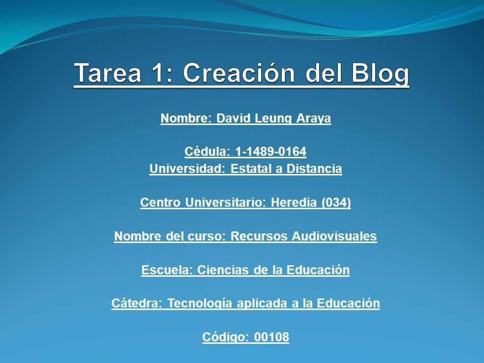 Tarea 1: Creación del Blog