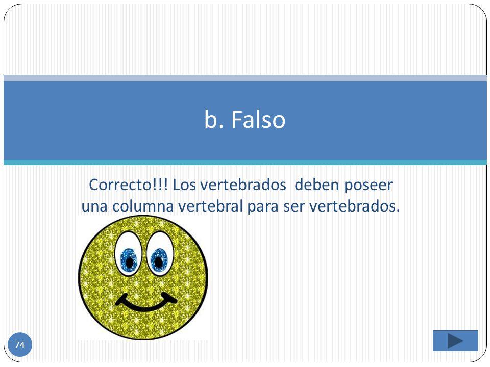 b. Falso Correcto!!! Los vertebrados deben poseer una columna vertebral para ser vertebrados.