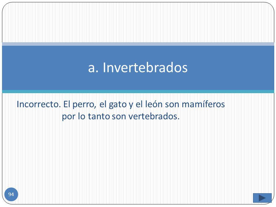 a. Invertebrados Incorrecto.