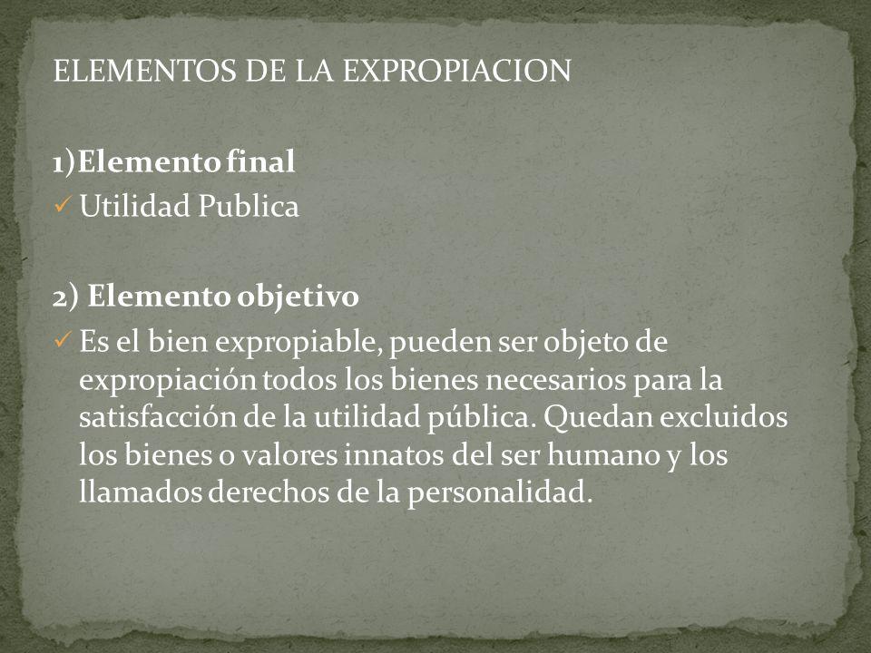ELEMENTOS DE LA EXPROPIACION
