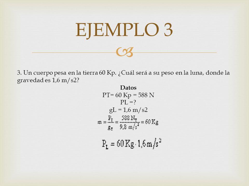 EJEMPLO 3 3. Un cuerpo pesa en la tierra 60 Kp. ¿Cuál será a su peso en la luna, donde la gravedad es 1,6 m/s2