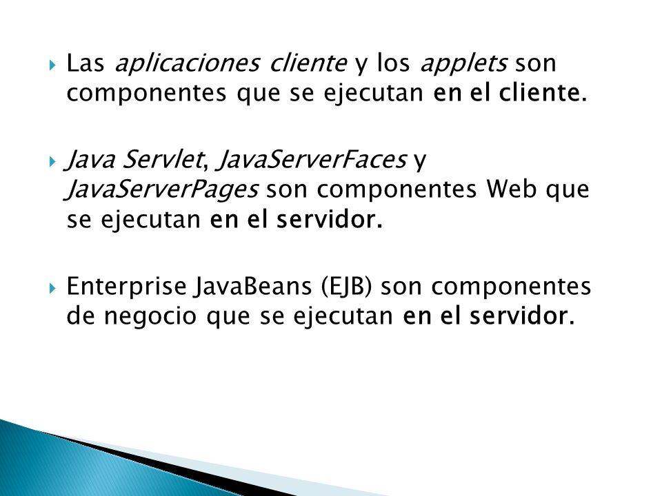 Las aplicaciones cliente y los applets son componentes que se ejecutan en el cliente.