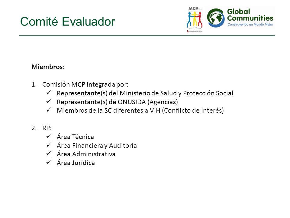 Comité Evaluador Miembros: Comisión MCP integrada por: