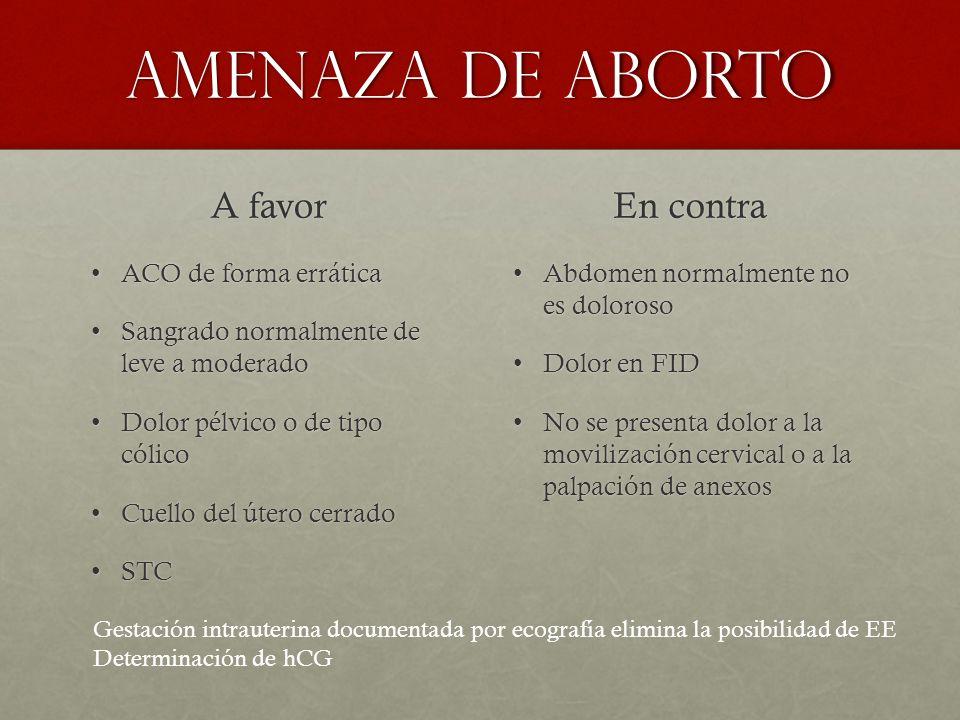 Amenaza de aborto A favor En contra ACO de forma errática