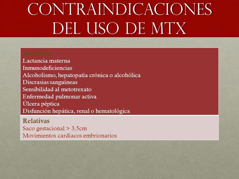 Contraindicaciones del uso de mtx