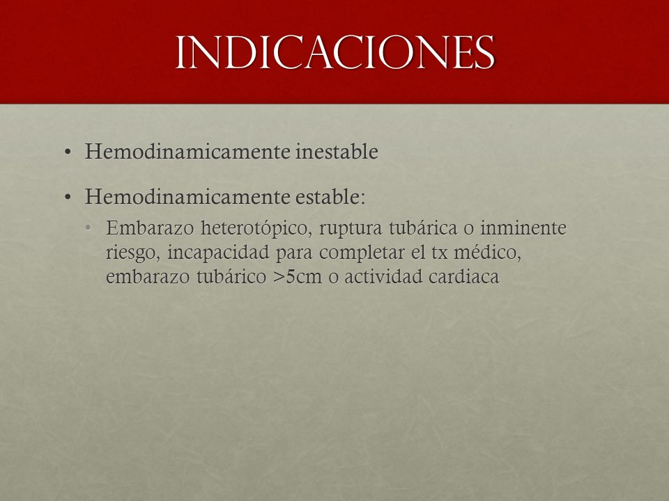 Indicaciones Hemodinamicamente inestable Hemodinamicamente estable: